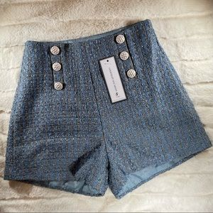 NWT! BUTTONED TWEED SHORTS
